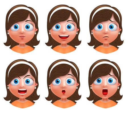 Chica personaje avatar. Conjunto de retrato de la cara joven con expresiones faciales llevaba en la cabeza aislada en el fondo blanco. ilustración.