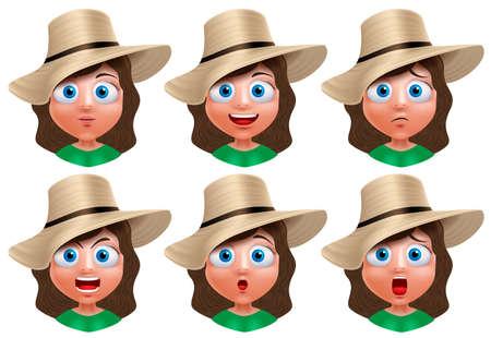 expresiones faciales: Chica personaje avatar. Conjunto de retrato de la cara joven con expresiones faciales con el sombrero de verano aislada en el fondo blanco. ilustración. Vectores