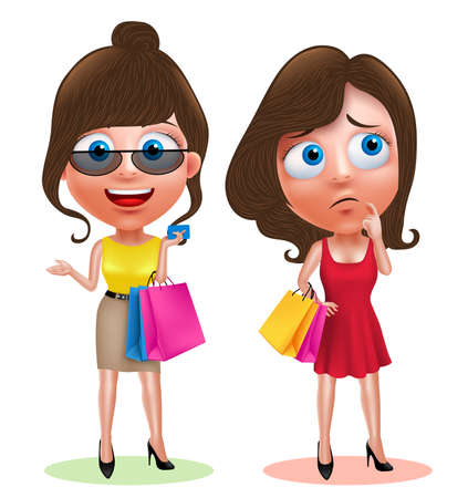Woman characters set holding shopping bags and credit card wearing fashionable dress with happy smile and thinking idea in white background. illustration.