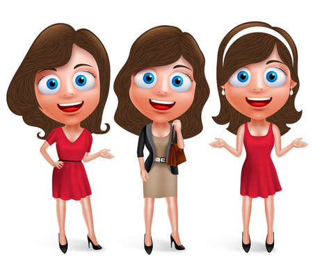adolescent: Fashion teenage girls characters set with model pose and hairstyles wearing stylish and trendy formal attires and holding bag in white background. illustration.