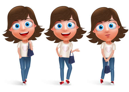 girl pose: Teen girl vector character holding hand bag wearing jeans and fashionable dress with different model pose and smile in white background. Vector character set.
