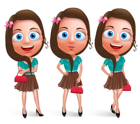 miniskirt: Lovely teen girl vector characters for fashion holding handbag wearing fashionable skirt dress with poses and smile in white background. Vector characters set. Illustration