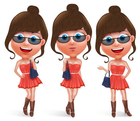 miniskirt: Fashion teen female vector character holding hand bag wearing fashionable skirt dress and boots with sunglasses with pose like model and smiling in white background. Vector characters set.