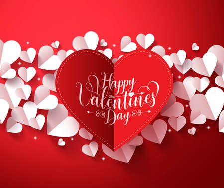 Valentines Background concept in red color with happy valentines day greetings card  in paper cut red heart with white hearts elements. illustration. Vettoriali