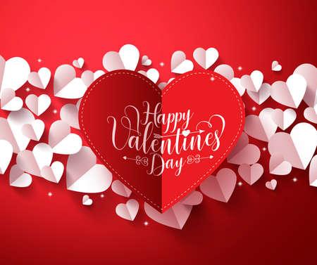 San Valentín concepto de fondo de color rojo con la tarjeta del día de tarjetas del día saludos de papel cortado corazón rojo con elementos de corazones blancos. ilustración.