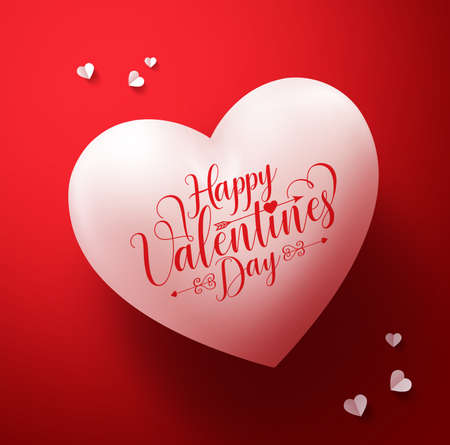 Happy valentines day calligraphy greetings in 3D realistic heart shape with white paper cut hearts decorations in red background. illustration.