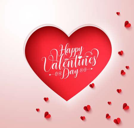 Feliz día de San Valentín texto de la tipografía en el corazón de papel rojo cortado con pequeños corazones decoración en el fondo blanco. ilustración.