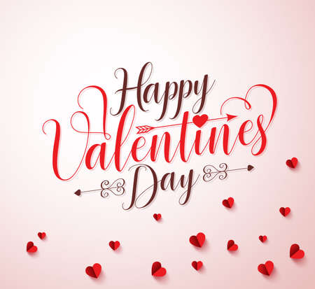 cut paper: Happy valentines day typography or calligraphy with paper cut red hearts elements in white background. illustration.
