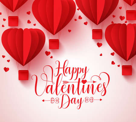 Happy valentines day vector greetings card design with paper cut red heart shape hot air balloons flying and hearts in white background. Vector illustration. Illustration