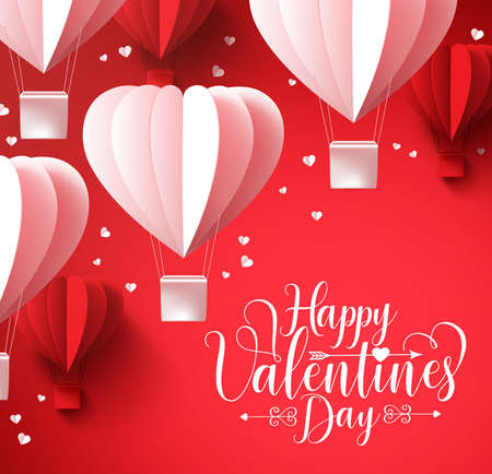 cut paper: Happy valentines day  greetings with paper cut heart shape balloons flying and hearts elements in red background. 3D realistic vector illustration design. Illustration