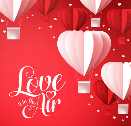 Valentines day background with love is in the air typography in red with paper cut heart shape balloons flying and white hearts decoration. Vector illustration. Illustration