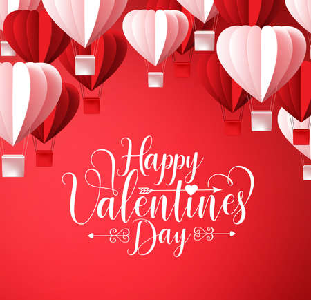 Happy valentines day greetings card vector design in red background with paper cut heart shape hot air balloons flying. Vector illustration.