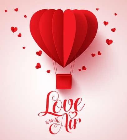 El amor está en la tipografía de aire para el día de San Valentín con globo de forma de corazón rojo corte de papel y decoraciones de corazones en fondo blanco. Ilustración vectorial Foto de archivo - 68814227
