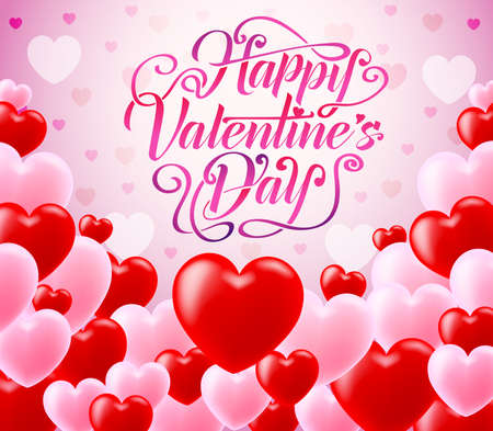 Red and Pink Hearts With Happy Valentines Day Typography in Pink Background Vector Illustration Illustration