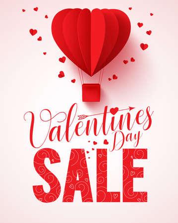 Valentijnsdag verkoop tekst vector ontwerp voor promotie met rode hete luchtballon van de hartvorm vliegen met een hart in een witte achtergrond. Vector illustratie. Vector Illustratie