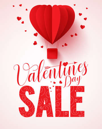 valentines: Valentines day sale text vector design for promotion with heart shape red hot air balloon flying with hearts in white background. Vector illustration.