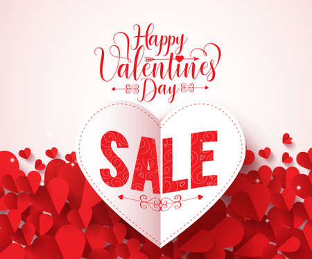 paper heart: Happy valentines day typography with sale text vector design in folded red heart shape paper cut and hearts background. Vector illustration.