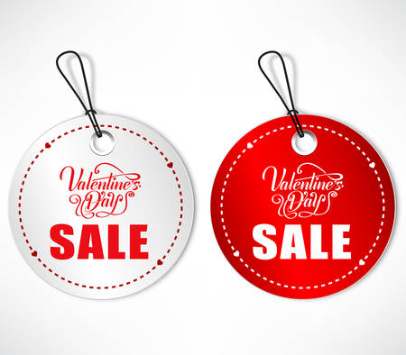 round shape: Round Shape Tags With Valentines Day Sale Lettering On Isolated Background