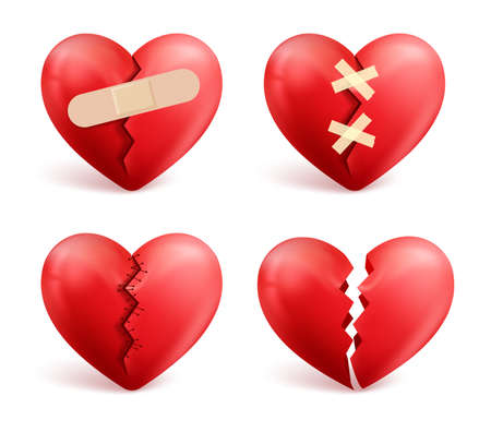 Broken hearts vector set of 3d realistic icons and symbols in red color with wound, patches, stitches and bandages isolated in white background. Vector illustration. Иллюстрация