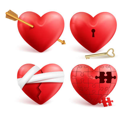 key holes: Red hearts vector 3d realistic set with arrows, key holes, puzzle and bandages for valentines day isolated in white background. Vector illustration.