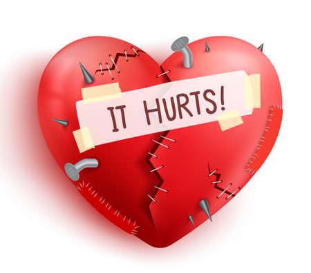 Corazón roto herido en color rojo con puntos y parches aislados en fondo blanco. Ilustración vectorial