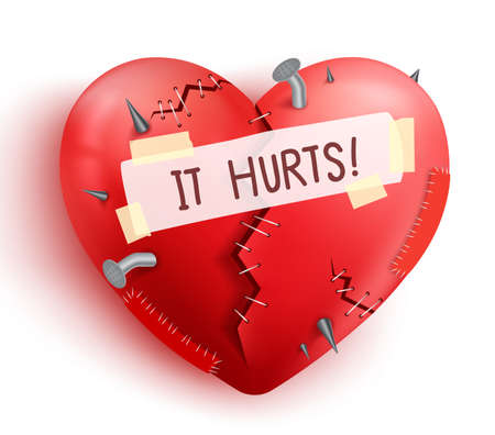 Broken heart wounded in red color with stitches and patches isolated in white background. Vector illustration. Vettoriali