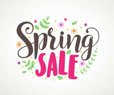 Spring sale banner disegno vettoriale con foglie colorate e fiori in sfondo bianco per la promozione stagionale primavera di promozione. Illustrazione vettoriale.