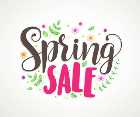 spring: Spring sale vector banner design with colorful leaves and flowers in white background for spring seasonal discount promotion. Vector illustration.