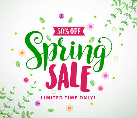 Spring sale text vector typography banner design with colorful flowers and leaves elements in white background for spring discount promotion. Vector illustration.