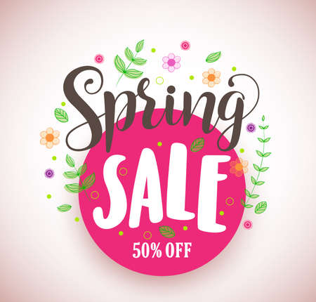 Spring sale vector design promotional banner in pink circle with colorful flowers and plants elements for spring season. Vector illustration.