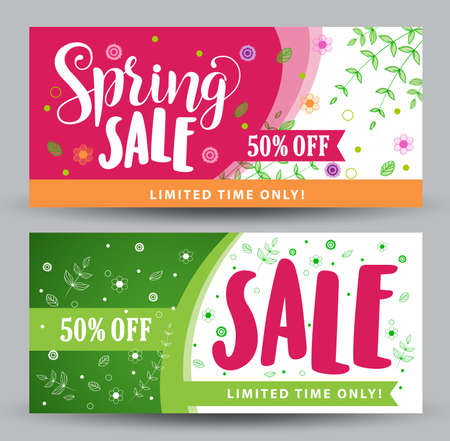 spring: Spring sale banners with different colorful designs for spring seasonal promotions with plants and flowers elements and decoration in white background. Vector illustration.
