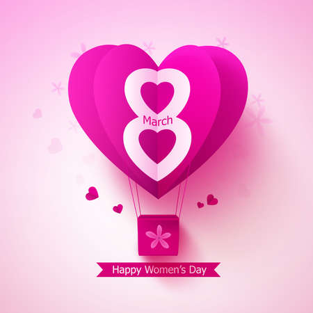 flying paper: Happy women day vector design concept with flying paper cut balloon heart and march 8 text in pink background. Vector illustration. Illustration