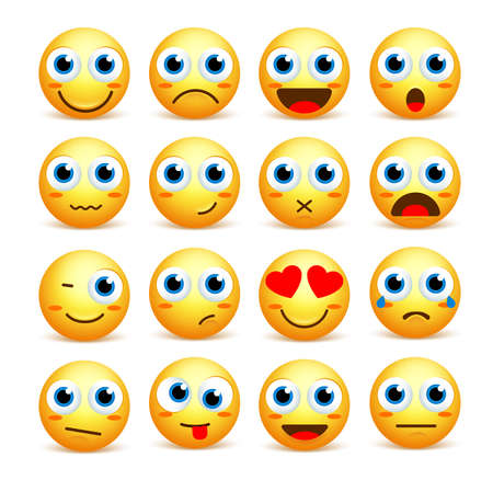joyful: Smiley face vector set of emoticons and icons in yellow color with funny facial expressions and emotions isolated in white background. Vector illustration.