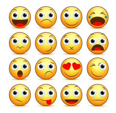 Vector cartoon smiley face set of yellow emoticons and icons with funny facial expressions and emotions isolated in white background with reflections. Vector illustration. Ilustracja