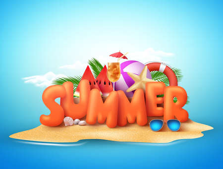 Summer day vector design of 3d summer text in beach island with tropical elements above the sand in blue sky background. Vector illustration.
