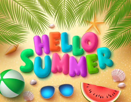 Hello summer vector banner design in beach sand background with colorful summer elements and text under palm leaves. Vector illustration.