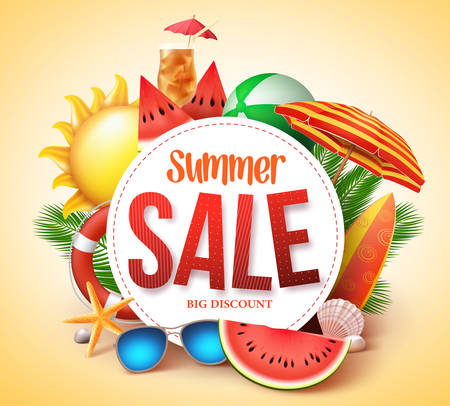 Summer sale vector banner design for promotion with colorful beach elements behind white circle in yellow background. Vector illustration.