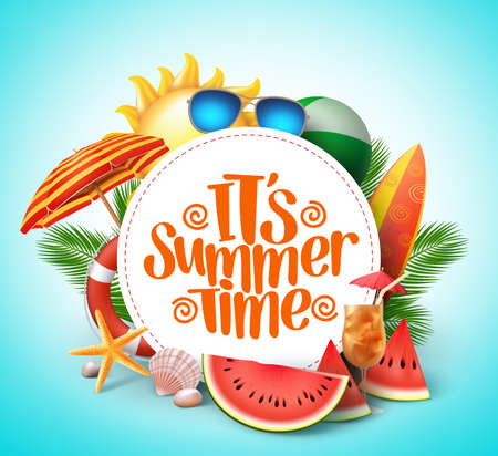 Summer time vector banner design with white circle for text and colorful beach elements in white background. Vector illustration.
