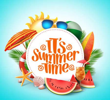 Sommerzeitvektor-Fahnendesign mit weißem Kreis für Text und bunte Strandelemente im weißen Hintergrund. Vektor-Illustration. Vektorgrafik