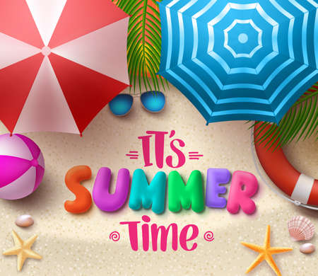 Zomertijd vector kleurrijke tekst in het zand met parasols