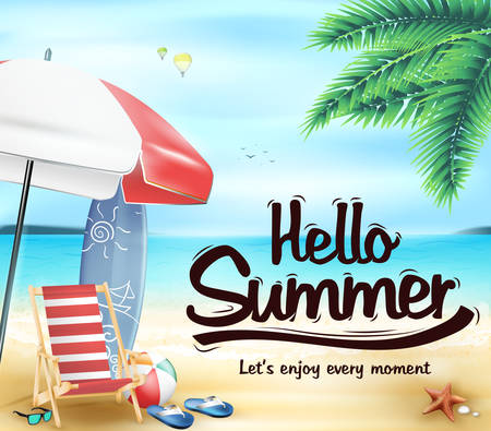playas tropicales: Hola Verano en la Playa Resort con la silla y sombrilla de playa Ilustración vectorial Vectores