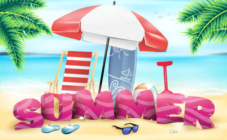 3D Summer Beach Vector Design in the Seashore with Beach Umbrella and Chair Illustration