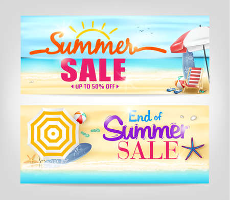 Summer Sale Banners in a beach Background