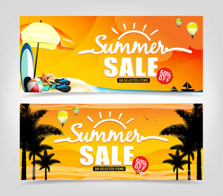 sell: Summer Sale Banner Design in Isolated Background for Summer Promotions