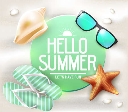 star fish: Summer Greeting on Circle Tag Laying in The Sand with Sunglasses and Star Fish