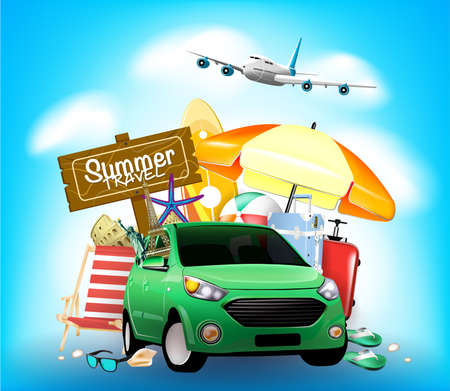 Summer Travel Sign on Blue Background with Car and Beach Umbrella Vector Illustration