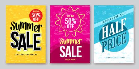 夏季销售矢量旗帜设计设置与色彩缤纷的背景和图案的季节购物折扣促销。矢量图。