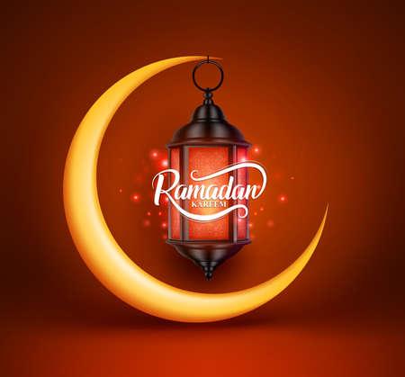 Ramadán kareem saludos de vectores de diseño con linterna o fanoos colgando en la media luna amarilla en fondo rojo. Ilustración del vector. Ilustración de vector