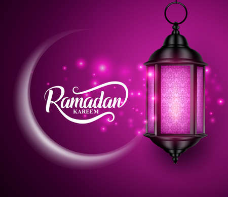 Lantern or fanous hanging with crescent moon and lights for ramadan kareem vector greetings design in purple background. Vector illustration.
