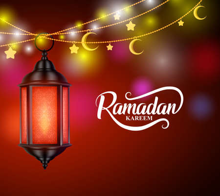 Ramadan kareem vector design with hanging lantern or fanoos and crescent moon in decorated colorful background. Vector illustration.